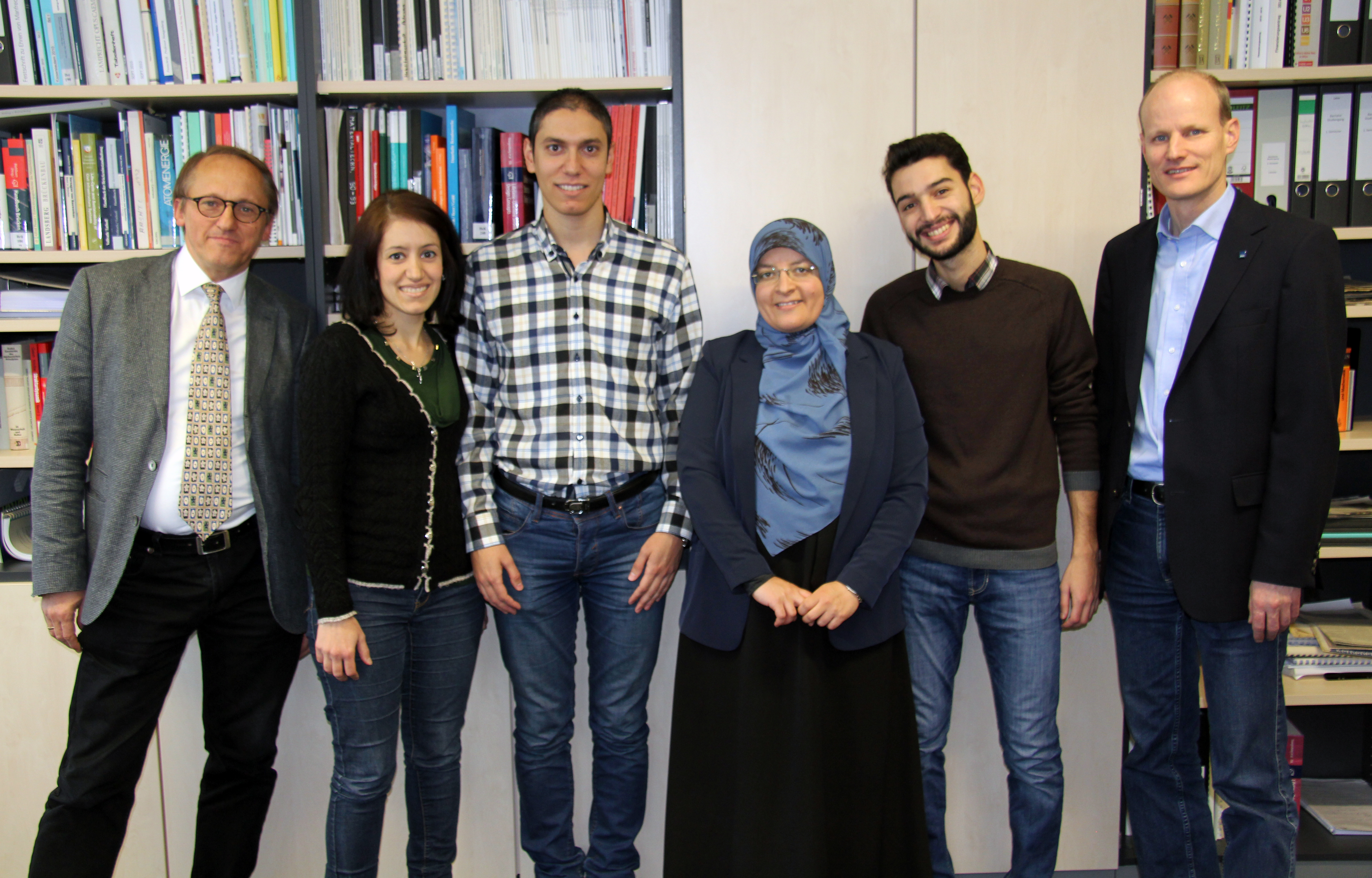 FLTR: Prof. Günther Meschke, Ghina Jezdan, Jehad Jezdan, Areeg Shermaddo, Mazen Draw, Prof. Peter Mark Prof. Mark (Dean of the Department of Civil and Environmental Engineering) and Prof. Meschke (Spokesperson of the Collaborative Research Center 837)